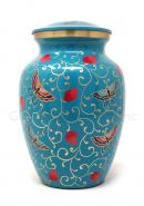 Floral Butterfly Brass Medium Urn for Cremation Ashes