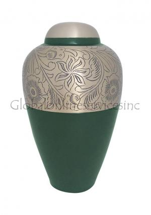 Floral Etched Antique Brass Cremation Urn for Human Ashes