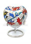 Floral Heart Keepsake Funeral Urn