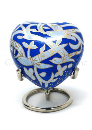Flying Bird Heart Keepsake Funeral Urn (Blue)