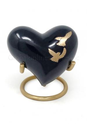 Flying Doves Black Small Heart Keepsake Cremation Urn