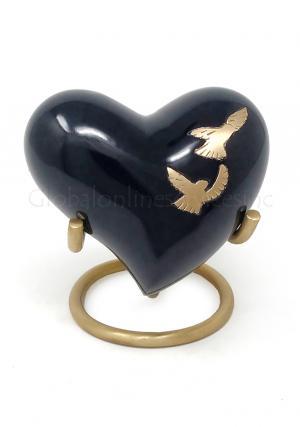 Flying Doves Black Small Heart Keepsake Cremation Urn