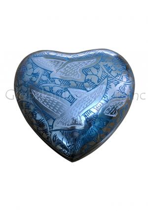 Flying Doves Blue Heart Keepsake Small Container for Funeral Ashes