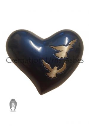 Flying Doves Mini Funeral Heart Keepsake Urn