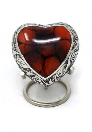 Funeral Leaf Urns, Mystic Red Small Heart Keepsake Urn for Human Ashes