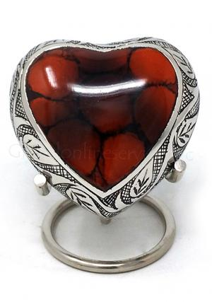 Funeral Leaf Urns, Mystic Red Small Heart Keepsake Urn for Human Ashes (Red)