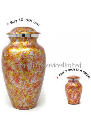 Garden Floral Aluminium Adult Ashes Urn+ FREE Aluminum Keepsake Urn