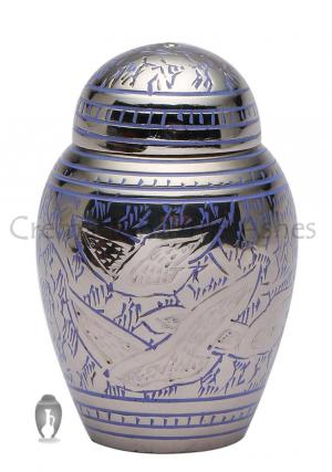 Going Home Dome Top Blue Doves Small Keepsake Urn for Funeral Ashes