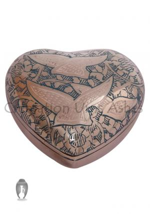 Going Home Doves Green Small Heart Keepsake Funeral Urn