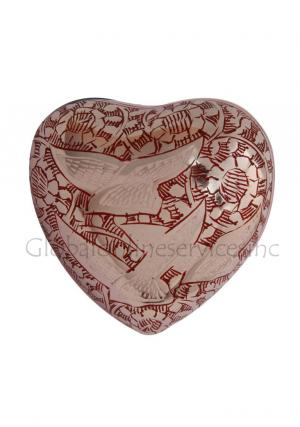 Going Home Doves Red Mini Heart Keepsake Cremation Urn