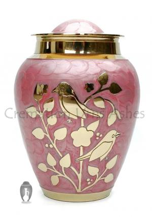 Gold Blessing Birds Large Adult Ashes Cremation Urn In Pink