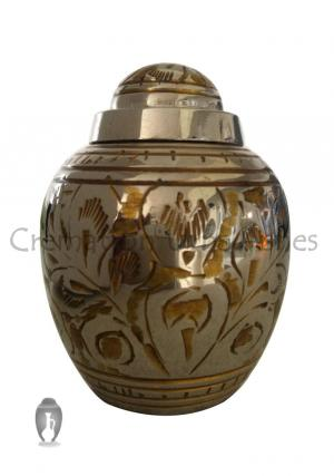 Gold Color Flower Dome Top Elegant Keepsake Urn for Funeral Human Ashes