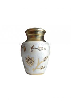 Gold Color Leaf Small Keepsake Funeral Cremation Urn