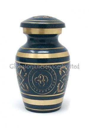 Gold Detailing Blue Keepsake Urn for Cremation Ashes