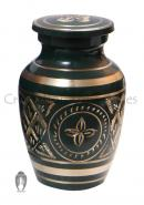Gold Detailing Forest Green Keepsake Urn for Cremation Ashes