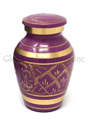 Gold Detailing Purple Keepsake Urn for Cremation Ashes