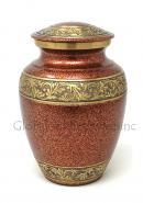 Gold Engraved Brass Floral Medium Urn for Funeral Human Ashes (Medium)