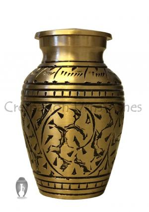 Gold Engraved Leaves Small Memorial Keepsake Urn For Ashes