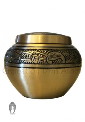 Gold Engraved Round Brass Floral Keepsake Urn for Funeral Human Ashes