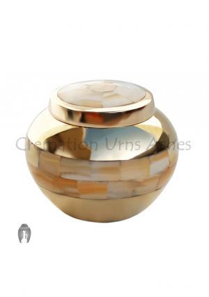 Gold  Mother of Pearl Keepsake Memorial Urn For Human Ashes UK