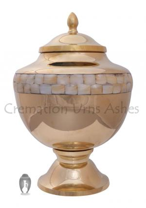 Gold Pearl Memorial Cremation Adult Urn for Ashes