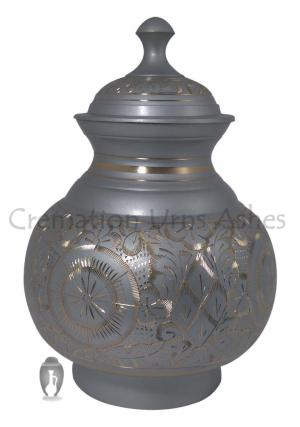 Gold & Silver Engraved Pointed Top Big Adult Cremation Urn