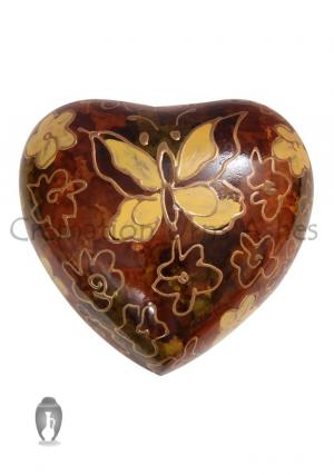 Golden Butterfly Small Heart Keepsake Funeral Urn