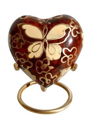 Golden Butterfly Small Heart Keepsake Funeral Urn