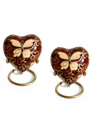 Pack Of Two  Golden Butterfly Small Heart Keepsake Funeral Urn