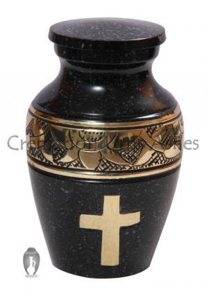 Golden Cross Engraved Mini Keepsake Urn for Human Cremains