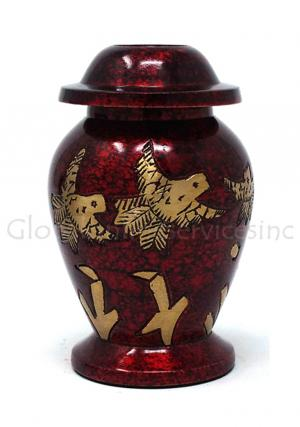 Golden Flying Dove With Maroon Small Keepsake Memorial Urn