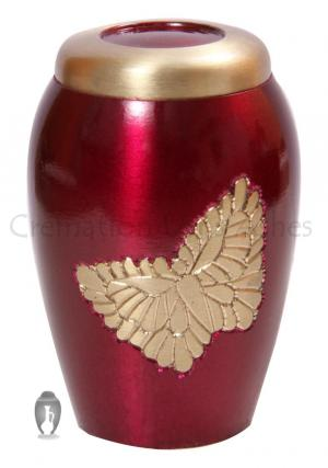 Golden Soaring Butterfly Pink Cremation Keepsake Urn Ashes