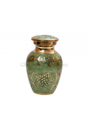 Gorgeous Green Enamel Funeral Mini Keepsake Urn Ashes