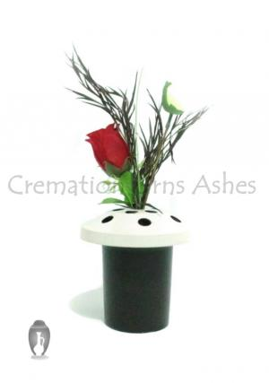 Grave Vases in Black and White for Flowers, Aluminum Made 14 Cm Height
