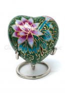 Small Green Floral Heart Keepsake Memorial Urn for Cremation Ashes