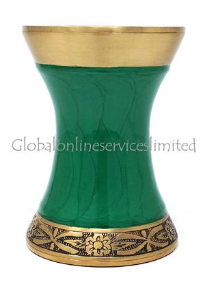Green Floral leaf Engraved Medium Tealight Cremation Urn For Human Ashes