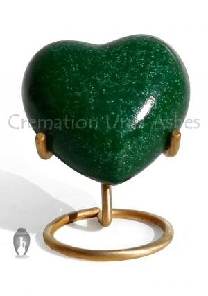 Green Heart Small Keepsake Urn for Ashes, Memorial Heart Urn