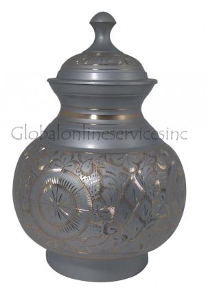 Grey & Gold Engraved Pointed Top Big Adult Cremation Urn