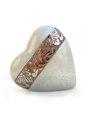 Heart Shaped Small Urn for Human Ashes, white Heart Keepsake Cremation Urn