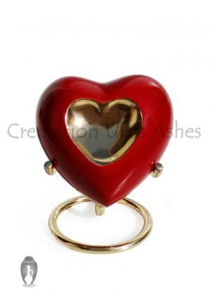 Inner Heart Keepsake Urn in Pewter Enamelled for Cremation Ashes