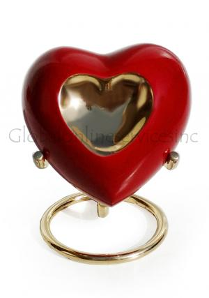 Inner Heart Keepsake Urn in Pewter Enamelled for Cremation Ashes