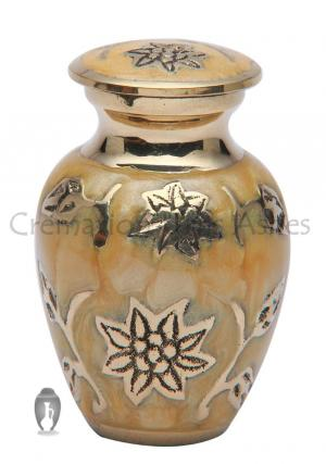 Ivy Leaves Gold Colour Small Keepsake Urn for Human Ashes