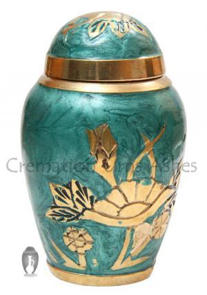 Jade Green Aylesbury Floral Keepsake Cremation Urn