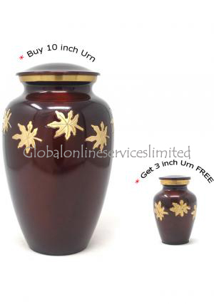 Large Adult Falling Leaves Cremation Urn For Ashes + FREE Small Falling Leaves Keepsake Urn (Large)