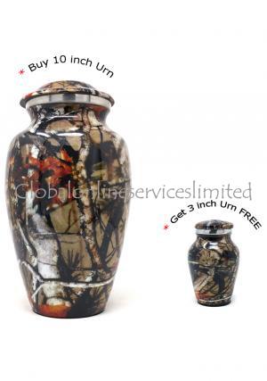 Large Aluminium Camouflage Cremation Urn+ FREE Small Aluminium Keepsake Urn (Large)