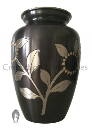 Large Black Pewter Sunflower Brass Memorial Adult Urn Ashes