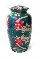 Large Blue Floral Aluminium Urn for Human Ashes