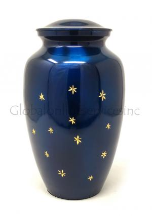 Large Brass (Blue With Silver Stars) Adult Funeral Human Ashes Urn, Cremation Urns Ashes