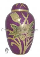 Large Dome Top Golden Flower Purple Adult Urn Ashes