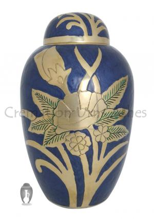 Large Dome Top Silver Floral Embossed Adult Urn Ashes